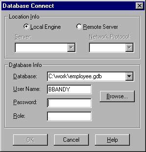 Connection dialog with role specification